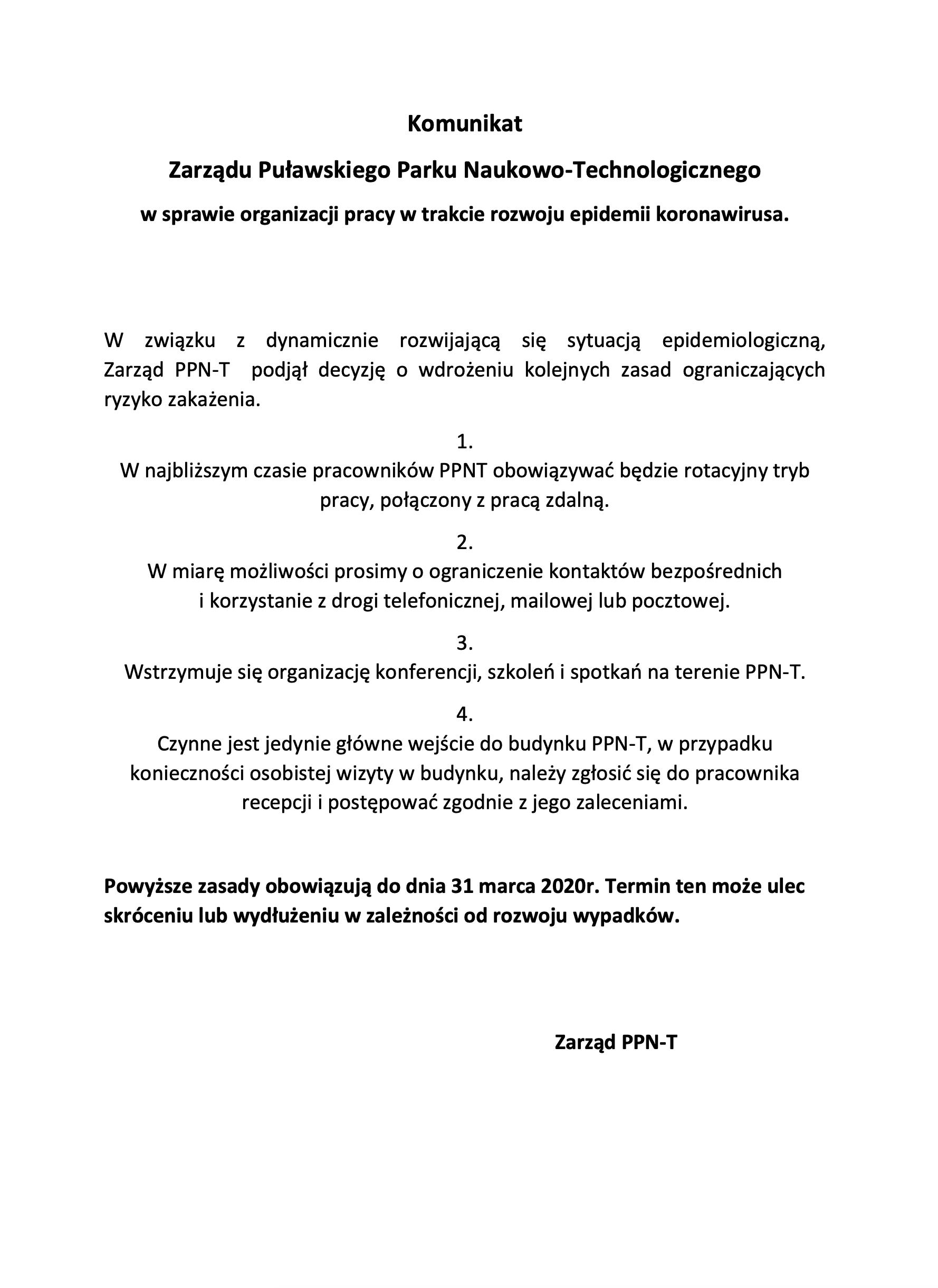 Komunikat Zarządu Puławskiego Parku Naukowo-Technologicznego